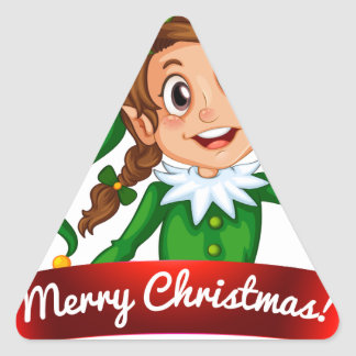 Logotipo del navidad con el duende femenino pegatina triangular