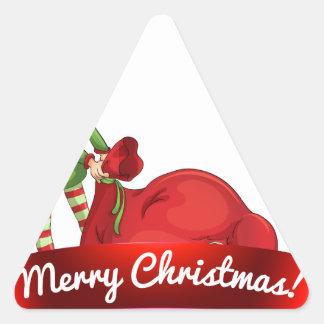 Logotipo del navidad con el duende pegatina triangular