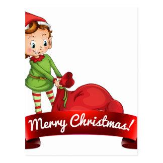 Logotipo del navidad con el duende tarjetas postales