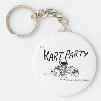 Logotipo del negro del fiesta de Kart Llavero