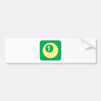 Logotipo del número uno de la bola de billar etiqueta de parachoque