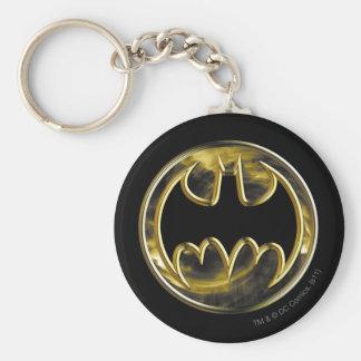 Logotipo del oro de Batman Llavero Redondo Tipo Pin