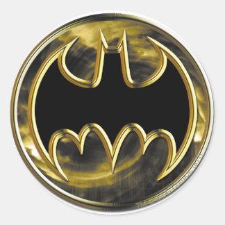 Logotipo del oro del símbolo el | de Batman Pegatina Redonda