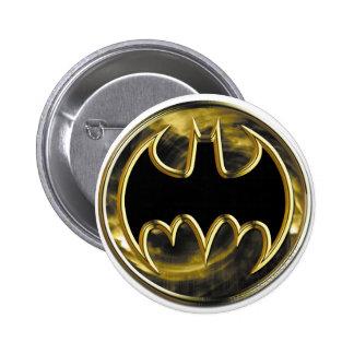 Logotipo del oro del símbolo el   de Batman Pin Redondo De 2 Pulgadas