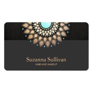 Logotipo del oro y de la turquesa del salón de tarjetas de visita