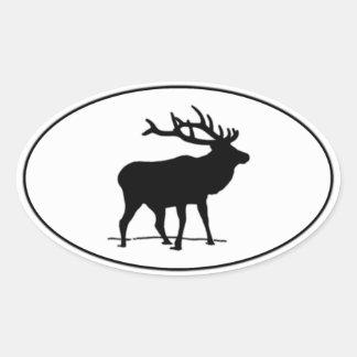Logotipo del óvalo del icono de los alces pegatina ovalada