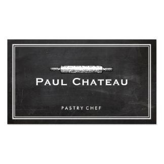 Logotipo del panadero del rodillo del chef de tarjetas de visita