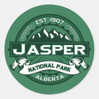 Logotipo del parque nacional de jaspe pegatina redonda