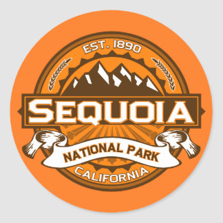Logotipo del parque nacional de secoya pegatina redonda