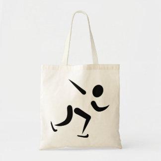 Logotipo del patinaje de velocidad bolsa tela barata