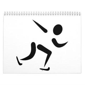 Logotipo del patinaje de velocidad calendario de pared