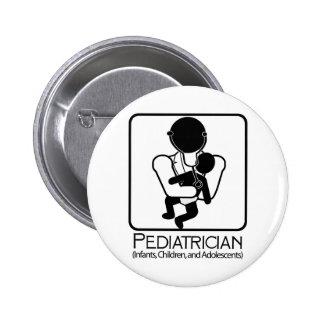 LOGOTIPO del pediatra - doctor a los niños, niños Pin Redondo 5 Cm