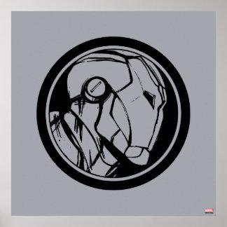 Logotipo del perfil del hombre del hierro póster