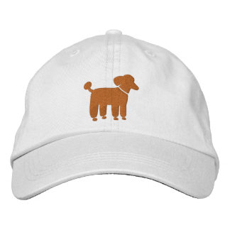 Logotipo del perro de caniche del albaricoque (col gorra de beisbol bordada