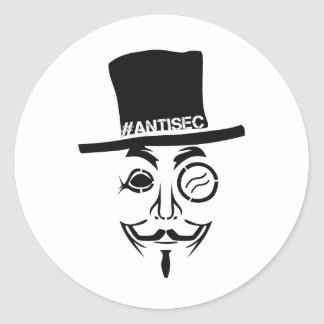 Logotipo del pirata informático de AntiSec Pegatina Redonda