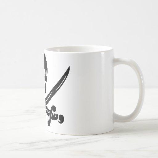 Logotipo del pirata taza básica blanca
