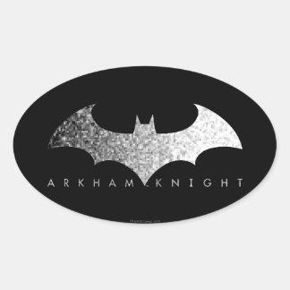 Logotipo del pixel del caballero de Batman Arkham Pegatina Ovalada