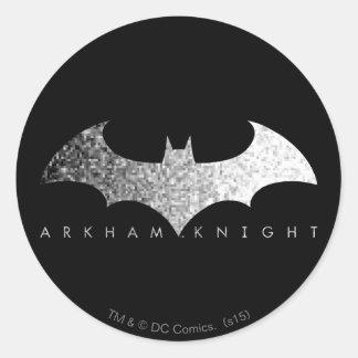 Logotipo del pixel del caballero de Batman Arkham Pegatina Redonda