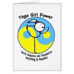 Logotipo del poder del chica de la yoga tarjeta de felicitación