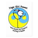 Logotipo del poder del chica de la yoga tarjeta postal