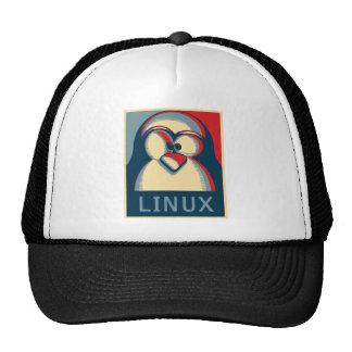 Logotipo del poster de obama del pingüino del tux gorras