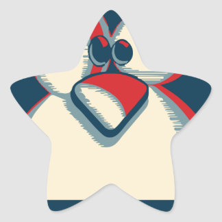 Logotipo del poster de obama del pingüino del tux pegatina en forma de estrella
