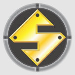 Logotipo del productor de acero pegatina redonda