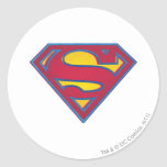 Logotipo del punto del superhombre pegatina redonda