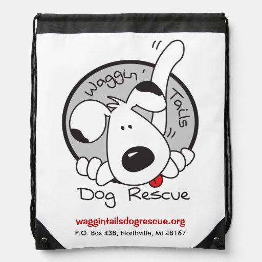 Logotipo del rescate del perro de las colas de mochilas