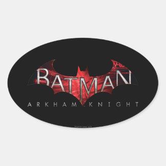 Logotipo del rojo del caballero de Batman Arkham Pegatina Ovalada