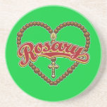 Logotipo del rojo del corazón del rosario posavasos cerveza