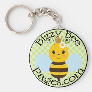 Logotipo del sello de las páginas de la abeja de llavero redondo tipo pin