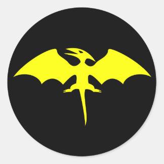 Logotipo del super héroe del dinosaurio del etiqueta redonda