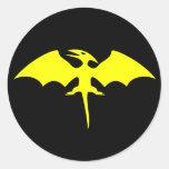 Logotipo del super héroe del dinosaurio del pegatina redonda