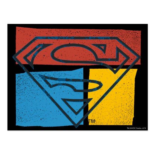 Logotipo del superhombre con colores postales