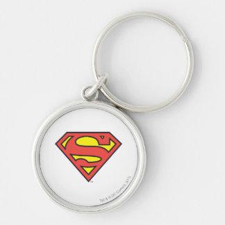 Logotipo del superhombre del S-Escudo el | del Llavero Redondo Plateado