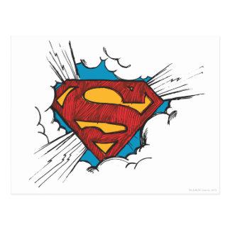 Logotipo del superhombre en nubes postales