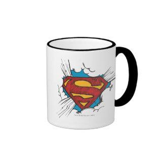 Logotipo del superhombre en nubes taza de café