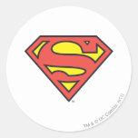 Logotipo del superhombre etiqueta redonda