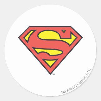 Logotipo del superhombre pegatina redonda