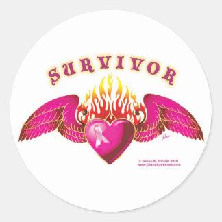 Logotipo del superviviente del cáncer de pecho pegatina redonda