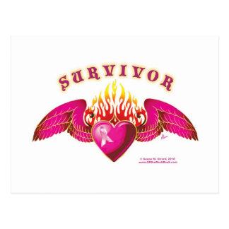 Logotipo del superviviente del cáncer de pecho postal