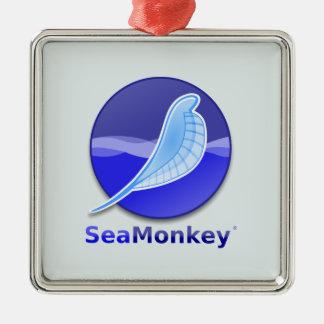 Logotipo del texto de SeaMonkey Adorno Navideño Cuadrado De Metal