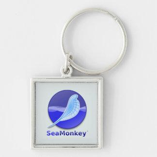 Logotipo del texto de SeaMonkey Llavero Cuadrado Plateado