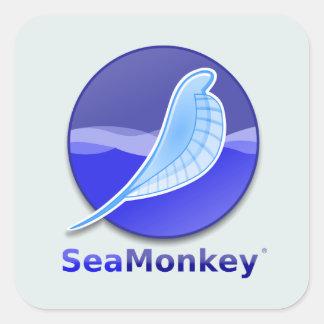 Logotipo del texto de SeaMonkey Pegatinas Cuadradas Personalizadas