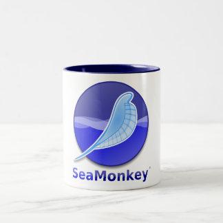 Logotipo del texto de SeaMonkey Taza De Café De Dos Colores