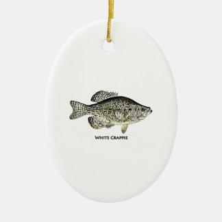 Logotipo del tipo de pez blanco (titulado) adorno navideño ovalado de cerámica