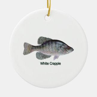 Logotipo del tipo de pez blanco (titulado) adorno navideño redondo de cerámica