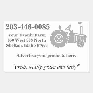 Logotipo del tractor, publicidad de la granja de pegatina rectangular