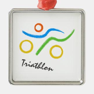 Logotipo del Triathlon Adorno Cuadrado Plateado